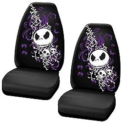 Nightmare Before Christmas Jack Skellington Purple Bats and Cross Bones Tim Burton Disney Car Truck SUV Universal-fit Bucket Seat Covers - PAIR