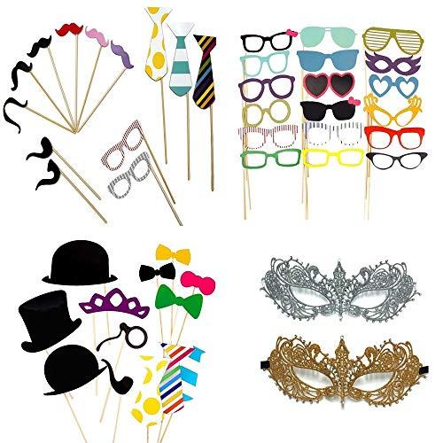 Schwongent Foto-Requisiten Masken 60 Stück für Geburtstag, Hochzeit, Schule, Abschlussfeier, Karneval, Party, Halloween, Kostümzubehör