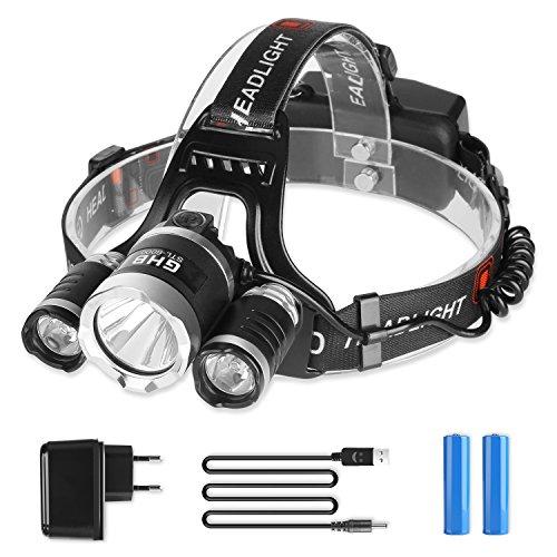GHB Lampe Frontale LED Puissante Rechargeable Luminaire 5000 Lumens 3xXM-L2 LED pour Running VTT Cycliste Randonnée Caverne Pêche Chasse de nuit