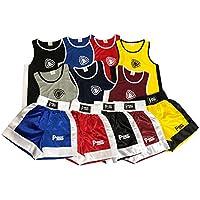 NUEVO infantil Boxeo Uniforme 2 pices set (Top & Corto) 03 hasta 14 Años Infantil (Rojo, 3-4 Años)