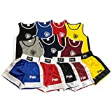 Prime Leather NEW KIDS BOXING UNIFORM 2 PICES SET (TOP & SHORT) 03 TILL 14 YEAR OLD KIDS (Black, 11-12 Years)