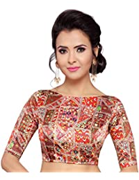 bac4dea8341 STUDIO SHRINGAAR WOMEN S POLY SATIN SILK TRADITIONAL PRINT READYMADE SAREE  BLOUSE WITH BOAT NECK AND ELBOW