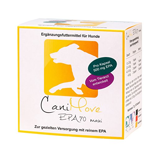 CaniMove EPA 70 maxi - Hochkonzentrierte Eicosapentaensäure (EPA, 70%) zur ergänzenden Fütterung bei chronischen Problemen von Darm, Gelenken, Haut, Sehnen, Muskeln, Leber, Magen oder Pankreas.