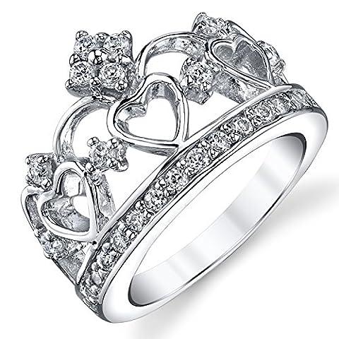 Bague en Argent sterling en forme de couronne avec zircone cubique. Pour Femme taille 54