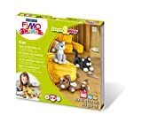 """Staedtler FIMO Kids, Coffret Form & Play """"Les Chats"""" avec 4 pains assortis de pâte FIMO extra-souple de 42 grammes, 1 outil de modelage et 1 décor, 8034 16 LY"""