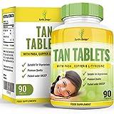 Tan Tablets - Bräunungstabletten - Selbstbräuner - Bräunungsmittel - mit Tyrosin, PABA und Kupfer - 90 Tabletten (2 Monate Vorrat) von Earths Design