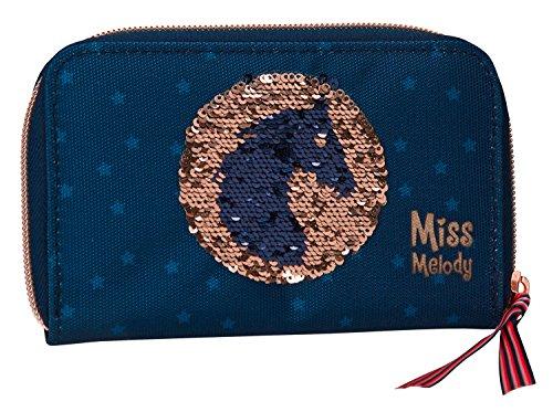 Depesche 6045 Portemonnaie, Miss Melody, Pailletten-Blau (Brieftasche Mit Blaue Reißverschluss)