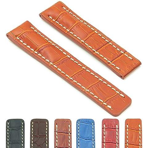 DASSARI Vantage marrón de cocodrilo en relieve de cuero banda de reloj para Breitling 20/1820mm
