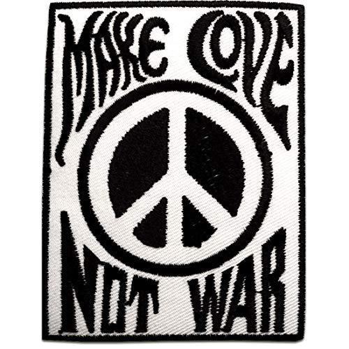 Aufnäher/Bügelbild - Make Love Not War Peace Frieden - schwarz/weiß - 9 x 6,8 cm - Patch Aufbügler Applikationen zum aufbügeln Applikation Patches Flicken -