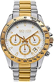 So & Co New York Monticello Men's Quartz Watch With White Dial Analogue Display and Silver Stainless S