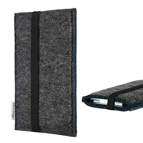 flat.design Handyhülle Lagoa für Homtom HT10 | Farbe: anthrazit/blau | Smartphone-Tasche aus Filz | Handy Schutzhülle| Handytasche Made in Germany