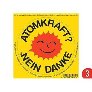 3er-Pack: Sticker ø 10 cm +++ LACHENDE SONNE von modern times +++ ATOMKRAFT NEIN DANKE +++ offizielles Lizenzprodukt!