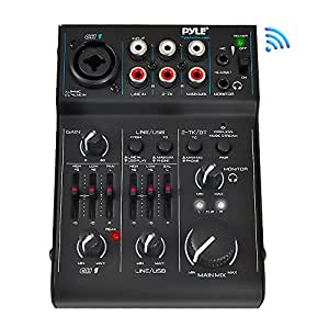 Pyle Bluetooth 3-Channel Audio Mixer, USB Audio Interface, 18V Phantom Power Supply For condenser Mic - Record To Computer (PAD30MXUBT)