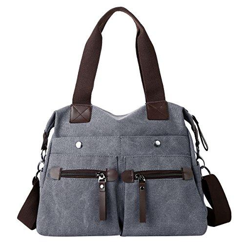 Eshow Damen Canvas Reise Täglich Schultertasche Handtasche Taschen Umhängetasche Shopper, Anthrazit