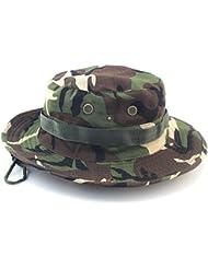 LU2000 Sombrero de pescador al aire libre adulto al aire libre que camina pescando el sombrero del camuflaje Selva redondeó el chapoteo grande - Camo