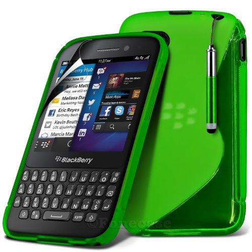 Fone-Case Blackberry Q5 Protective S Line Wave-Gel Skin Tasche Hülle mit LCD Displayschutzfolie Guard & Retractable Aluminium Kapazitive Stylus Pen (Vert)