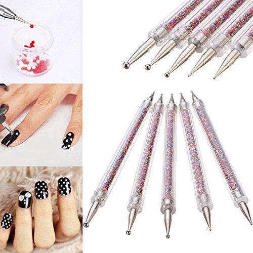 bureze 5pcs/kit doble cabeza uñas decoración de uñas bolígrafo maletero con purpurina Manicura Herramienta de lunares