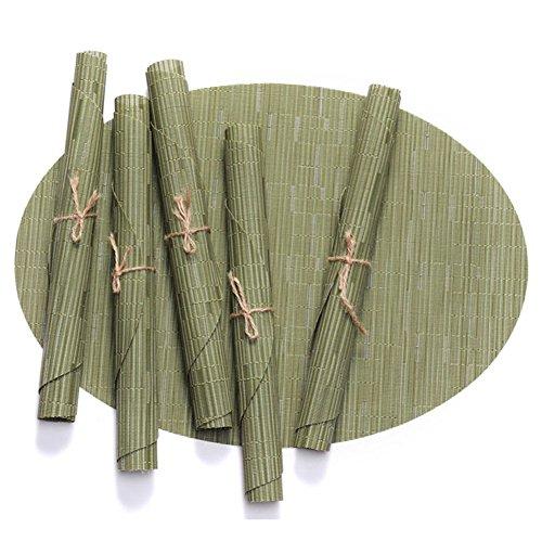 Leisial Tapis de Table en PVC Bambou Écologique Sets de Table Anti-échaudage Antidérapants Décoration de Table pour Dîner Cuisine(Vert