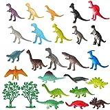 LIHAO Set di 26 Pezzi Dinosauro Jurassic Giocattoli, Pupazzetti di Creature Preistoriche, Ideale per Bambini Piccoli, Regalo Compleanno Natale Giorno dell'Infanzia, 24 Figure Animali e 2 Alberi