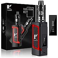 Kupbox E Zigarette Starter Set Ohne Nikotin, 10-80W E Shisha Dark Rider E Zigarette mit 0.5Ohm 2ml Verdampfer Tank, 2000mah Akku Kit- Rot.MEHRWEG-VERPACKUNG