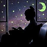 300 Pcs Leuchtender Aufkleber Fluoreszierende Sterne und großer Mond Fluoreszierende Wandaufkleber Leuchtaufkleber für Kinderzimmer DIY Raumdekoration sternenhimmel für junge/Mädchen