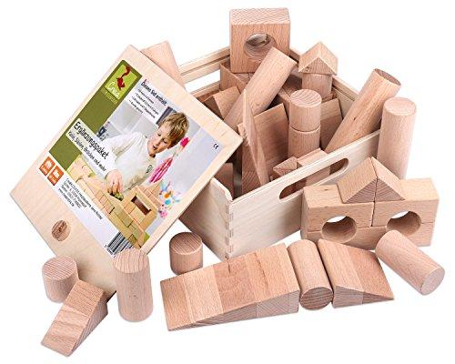 CreaBLOCKS Holzbausteine Ergänzungspaket Keile, Säulen, Brücken (40 unbehandelte Bauklötze)