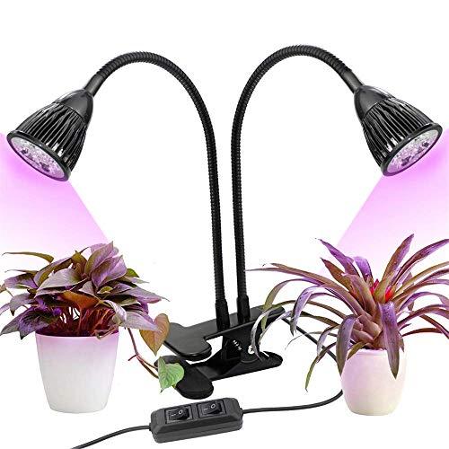HONGSHENG Pflanzenwachstumslampe Pflanzenbeleuchtung Doppelkopfwachstumslampe Mit 10 W Vollspektrum-Clip, Pflanzenfülllicht