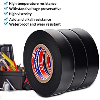 Electrical Insulation Tape PVC Insulating Tape Black 0.75IN*65FT*3 Roll -FraFong