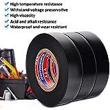 Ruban Adhésifs Ruban isolant noir de bande électrique de PVC 0.75IN×65FT×3 Roll Roll Réparer Usages Toile Très Résistante