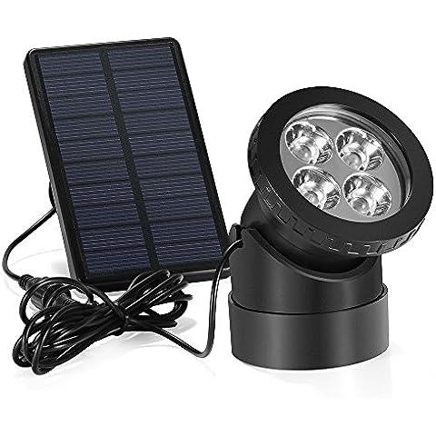 Lámpara LED Grandbeing Luz Solar Impermeable, Foco Exterior Solar Resistente al Agua de Luz Blanca Súper Brillante, Iluminación Para Jardín, Patio, Piscina, Camino y Terraza (Luz Blanca)