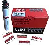 1 x Gas Kartuschen P1000 (165mm) + 1000 x titibi Nägel für: Gas Nagler TITIBI - HITACHI - BEA - MAKITA - SENCO- WURTH - VIELE ANDERE (Ø 2,6 X 15mm)