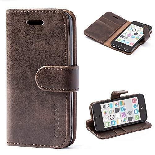Mulbess Coque iPhone 5C, Étui Coque en Cuir pour iPhone 5C [Housse Pochette Portefeuille avec La Fonction Stand] Vintage Brun