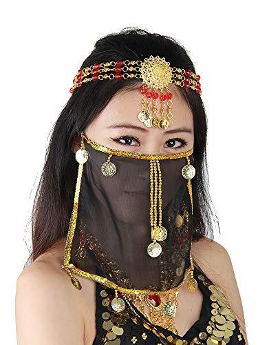 Grouptap Seidenbauchtanz sexy Gesicht Schleier Maske Kostüm Frauen Mädchen arabisch türkische Outfits mit Gold Schmuck Krawatte (Schwarz) -
