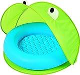 Bieco 22051110 - Baby Bade- und Spielpool mit Pop-Up-Sonnenschutzzelt, Motiv: Frosch, grün, ca. 97 x 97 x 74 cm