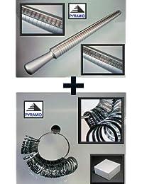 Set: Ringstock + Ringmaß aus Metall - Messgerät für Ringe Fingerringe Ringmesser Ringmaßgerät Ringstab