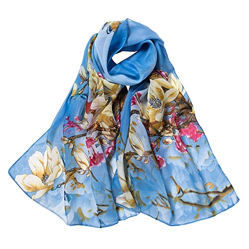 Tdpyt sciarpa dello scialle di stampa floreale delle donne sciarpe dell'involucro molle lunghe del chiffon elegante sciarpa di seta sottile-cielo blu