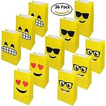 36 Bolsas de Regalo de Emoji - Bolsas Detalles y golosinas Ideal para Navidad Fiestas y
