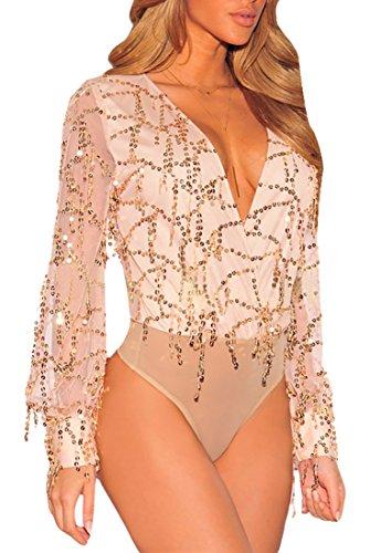 MYWY - Body donna body sexy scollo profondo v dettaglio maniche lunghe velate elegante albicocca