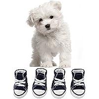 KEESIN. Zapatillas para cachorro mascota antideslizantes de suela de goma de lienzo. Zapatillas de deporte al aire libre. Zapatillas. Botas. Zapatos causales con tejido Interior de algodón suave