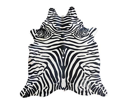 Teppich aus Kuhfell, Farbe: Zebra Safari Schwarz und Weiß, Größe circa 150 x 210 cm, Premium - Qualität von Pieles del Sol aus Spanien