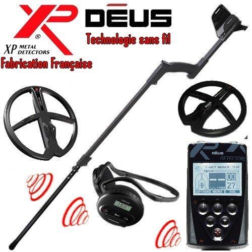 Xp Metal Detectors - Détecteur De Métaux Deus Full 2 Disques - Technologie Sans Fil - Télécommande - Casque Ws4 - Disque Dd 22 Et 28 Cm Avec Protèges Disques - Canne Télescopique En S