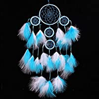 H.W.T Large Handmade Dream Catcher Traditional Dreamcatcher Wall Hanging Decoration Feather Five Rings (Blue)