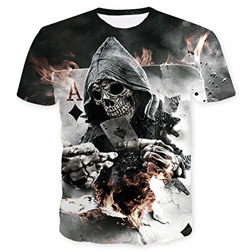 WQWQ 3D-personalisiertes Poker-T-Shirt, Kurzarm-Shirt mit Animal-Print, Funktions-Slim Fit-Sweatshirt für Erwachsene und Kinder 100% Baumwolle X XL XXL,A,XXXL - Kinder-erwachsenen-sweatshirt Mit Rundhalsausschnitt