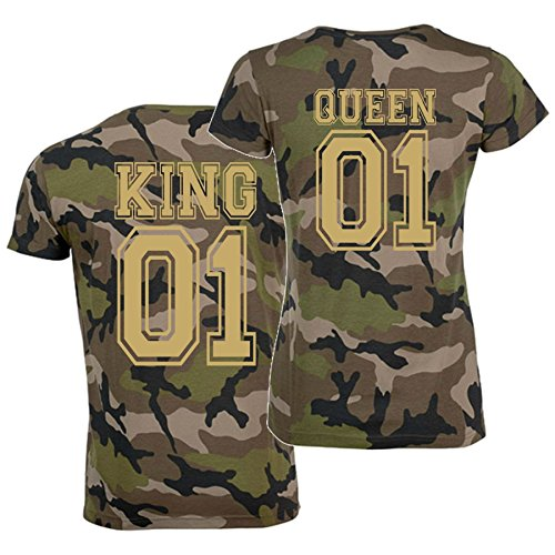 *T-Shirt-Set KING oder QUEEN Partner-Shirts CAMO gold – Aufdruck hinten Damen M + Herren XL*