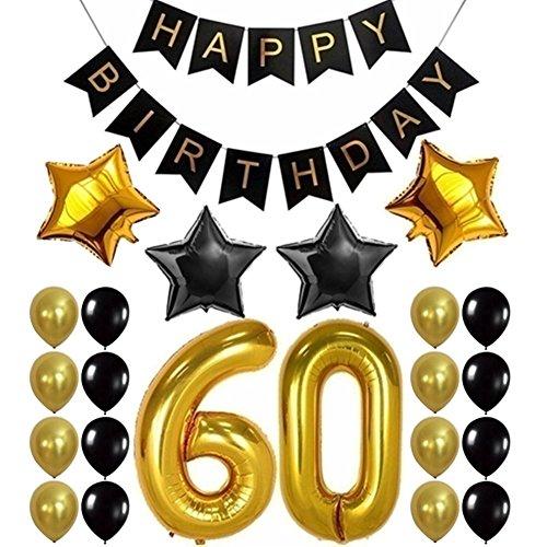Lovejoy Store 23 Stück/Set Folie/Latex-Luftballon-Banner, Happy Birthday, Party-Banner Folie, Zahlen, Stern, Luftballons, Dekorationsset, einfarbig, 60