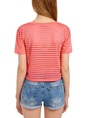 oodji Ultra Damen Bauchfreies T-Shirt mit Transparenten Streifen Rot (4300N)