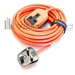 Heavy Duty Rubberised Trailing Socket Extension Lead - Black/Orange / White 1 Gang 15m Orange