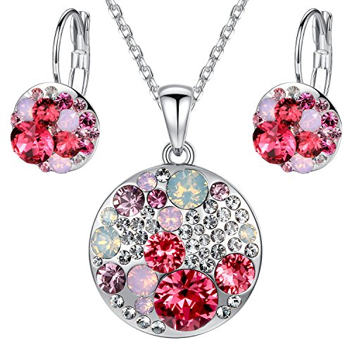 """Leafael """"Ocean Bubble"""" Swarovski Elements Austrian Crystal Multi-stone Pink & Red Circle Pendant Necklace Earring Jewelry Set, Silver-tone Chain 18"""" + 2"""" Extender"""