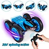 Crenova Remote Control Car, 4WD RTR Off Road Stunt Monster Truck, 360° Rotation 2.4GHz Remote Control 7.5MPH Stunt Car with 2 LED Headlights, Best Birthday & Festival Gift for Kids