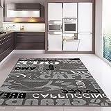 Teppich Modern Flachgewebe Sisal Optik Küchenteppich Küchenläufer Coffee Grau Weiss Schwarz Töne - VIMODA, Maße:60x100 cm